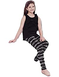 Summer Night Suit for Kids / Girls - Night wear - Track Suits - Pyjama Tshirt Night Wear Combo Set  -Sinker Material  - Half Sleeve - Black Color - Branded Valentine Kids Wear -For 6/8/10/12/14/16 Year Girls - Track Pant and T-shirt