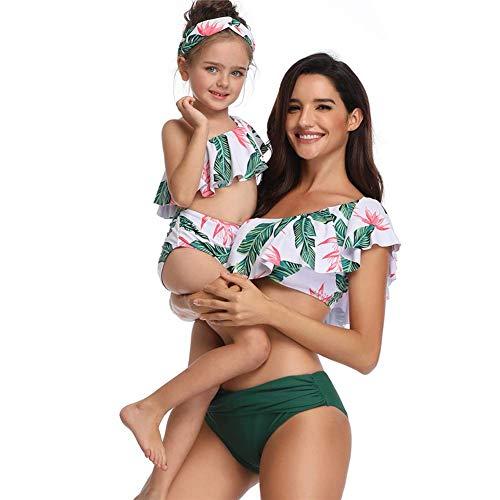 TCHGI Costume da Bagno per Genitore-Bambino, Bikini alla Moda a Vita Alta con Increspato, Costume da Bagno a Due Pezzi per Mamma e Figlia, 104
