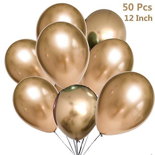 zooting 50 Stück Luftballons Metallic,Helium Ballons in Gold Metallischen Farben Metallfarbe Dekoration für Vintage Jugendweihe Junge Geburtstag Hochzeit JGA Hen Party Deko (XL 30cm) (Dekorationen Party Vintage)