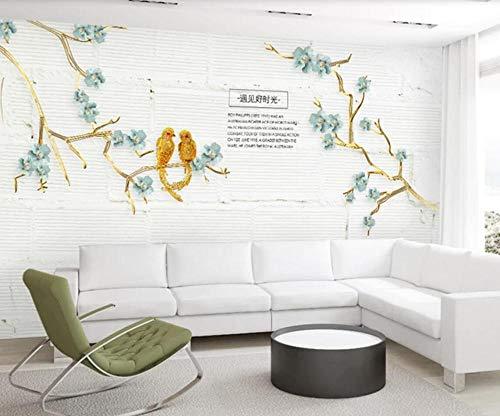Tapete 3D Wandbild Geprägte Blumen Und Vögel Gestalten Literatur Und Kunst Fototapete 3D Effekt Vliestapete Wohnzimmer Wanddeko