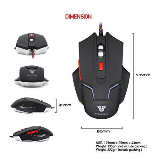 omiky® V42,4GHz USB Wired Gaming Maus Optische Ergonomische 6Tasten 2500DPI Laser Mäuse (schwarz)