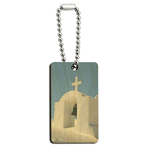 Santorini griechischen Insel Kirche–Griechenland Holz Rechteck Schlüssel Kette (Kirche-schlüssel)
