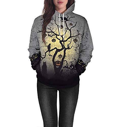 Einzigartig Frauen Halloween Kürbis Drucken Langarm Pullover Bluse mit Kapuze Sweatshirt(Grau,EU-40/CN-M) ()