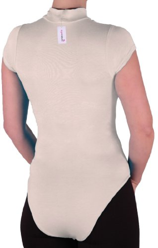 Eyecatch Grundlagen - Frauen Kappe Armeln Bodysuit Stretch Damen Trikot Rollkragen Body Top Cream