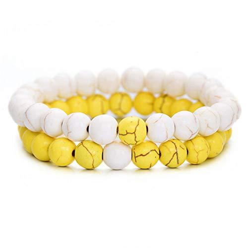 UPPPP Sommer Stil 8mm Gelb und Weiß Naturstein Perlen Armband für Frauen Chic Runde Strang Armbänder & Armreifen Liebhaber Schmuck -