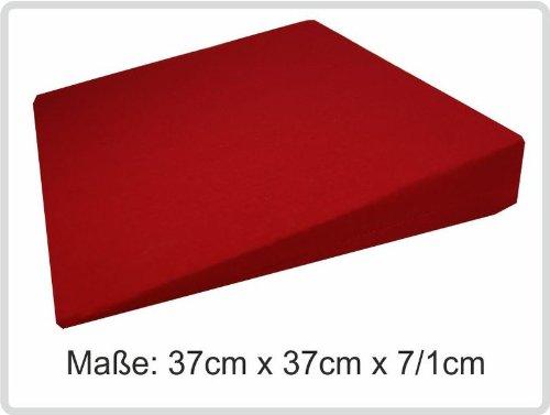 Orthopädisches Keilkissen Kissen Sitzkissen Sitzkeilkissen Sitzkissen Sitzkeil mit 100 % Baumwollbezug! *Top-Qualität zum Top-Preis* (rot)