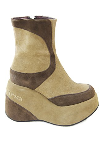 Fornarina Vintage Suede Boots with Wedge Heel (10 cm) PIFBU2606WS Camel and Black Camel