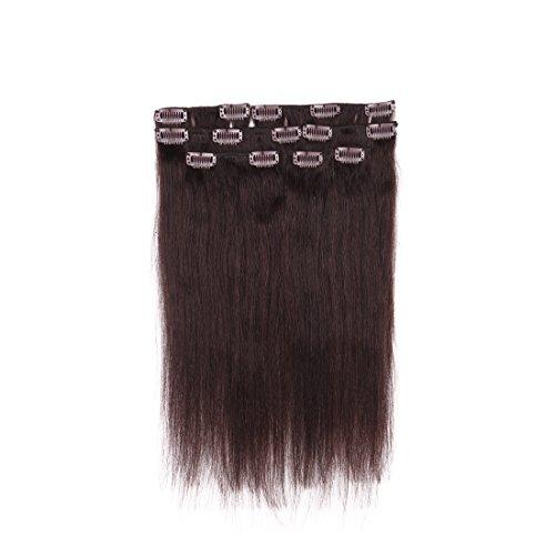 creamily 40,6cm # 2Clip in Remy Echthaar Extensions schwarz braun Farbe Kurz Gerade Echthaar Stil für African American Frauen 7Stück 65g (African Hair Clip In Extensions)