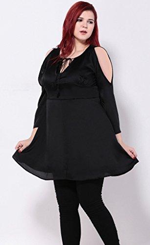Smile YKK Femme Plus Size Robe Sans Bretelle Moulante Grosse Taille Noir