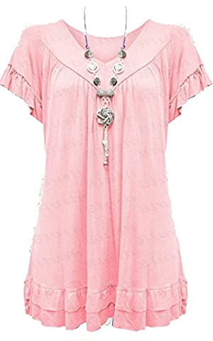 Womens Ladies Plus Size Frill Necklace Gypsy Ladies Tunic Short Sleeve Long V Neck Tops (12-22) (UK SIZE 20-22, baby