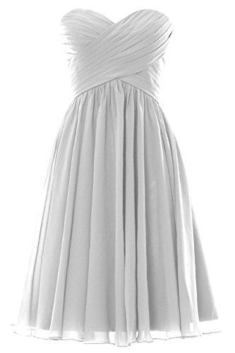 MACloth Women Short Bridesmaid Dress Strapless Chiffon Cocktail Formal Gown Weiß