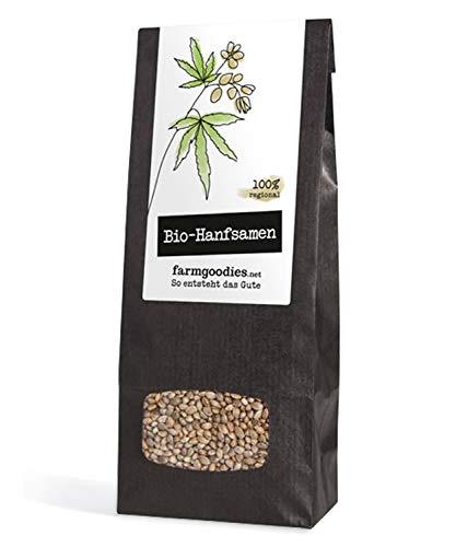 farmgoodies BIO Natur Hanfsamen- direkt vom Bauern! | Natur, ungeschält, im Ganzen | Hanf Samen der Canabis sativa - zum Kochen, Backen oder fürs Müsli (500g) -