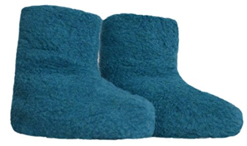 SamWo,Fußwärmer Hausschuhe aus 100% Schafwolle, Größe: 35-48 Azur