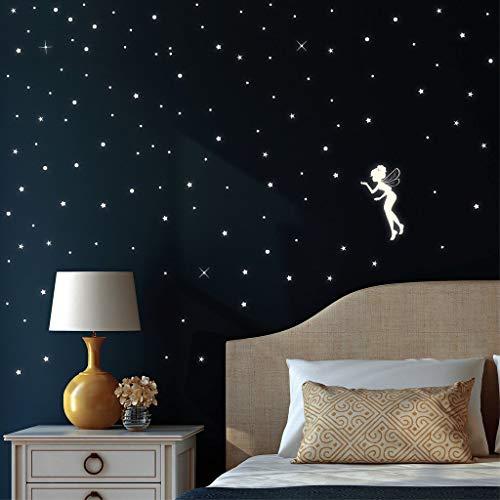 Konsait 435 Points Lune et Etoiles phosphorescentes Stickers Muraux fluorescents Lumineux Autocollant Plafond pour D/écoration de Chambre denfant b/éb/é