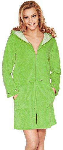 Merry Style Femme Peignoir de Bain avec Capuche et Zip Viki Vert