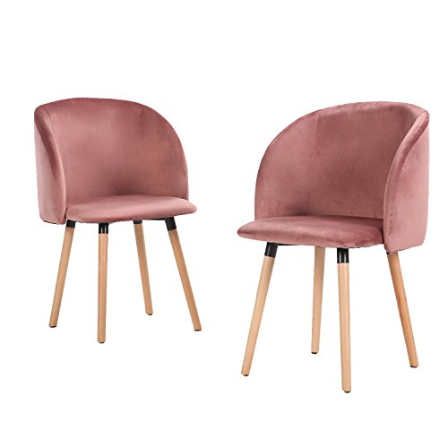 EGGREE Set of 2 Velvet Fabric Tube Accent Chair Armchair Dining Living Room Lounge Office Modern Furniture with Solid Wooden Legs - Rose Red
