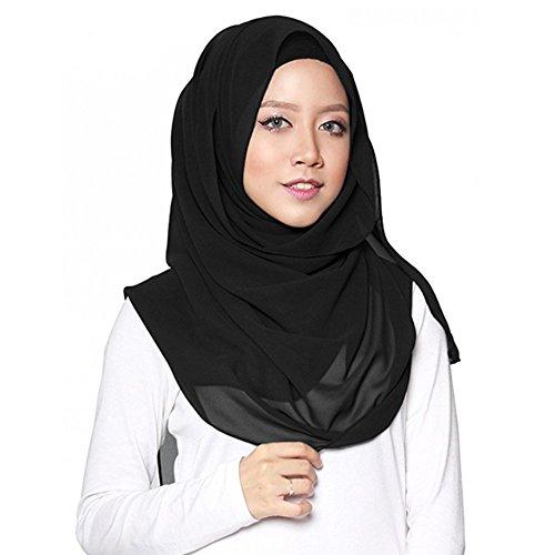 Miaoma ladies's fashion scarf moda tinta unita 100% cotone pashmina hijab grande sciarpe lunghe collo sciarpa scialle avvolgere nero