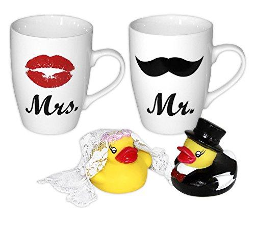 Close Up Mr. & Mrs. Tassen 2-er Set mit Badeenten Brautpaar / 4-TLG. Geschenkset Hochzeit