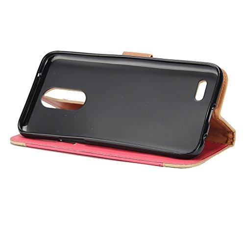 JIALUN-Telefon Fall Mit Card Slot, Lanyard, geprägte Mode Open Handy Shell für LG K8 2017 ( Color : Red ) Red