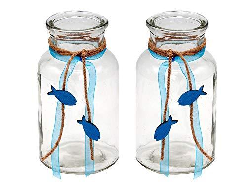 ZauberDeko 2 Vasen Kommunion Konfirmation Tischdekoration Petrol Fisch Natur Vintage Isaak