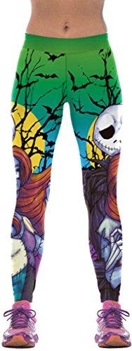 Belsen, leggings da donna, elasticizzati, ideali per sport, yoga o per essere indossati come pantaloni a sigaretta, stampa: halloween zombie small