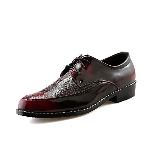 Hilotu uomo oxfords texture di coccodrillo scarpe eleganti in pelle verniciata (color : reddish brown, dimensione : 38 eu)