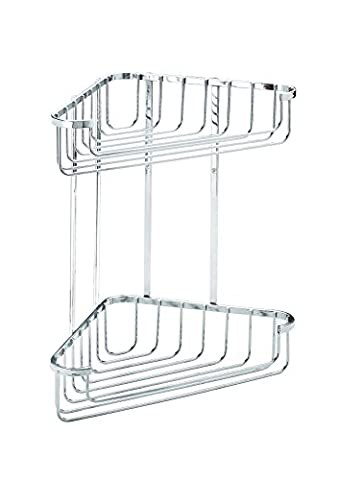 Croydex Large Chrome Plated Rust Free Mild Steel 2-Tier Corner