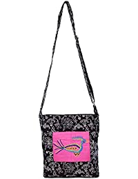 Literacy India Indha Hand Embroidery Cum Block Printed Sling Bag For Girls/Women.