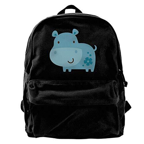 Rucksäcke, Daypacks,Taschen, Classic Canvas Backpack Blue Flower Rhino Unique Print Style,Fits 14 Inch Laptop,Durable,Black - Rhino Canvas Print