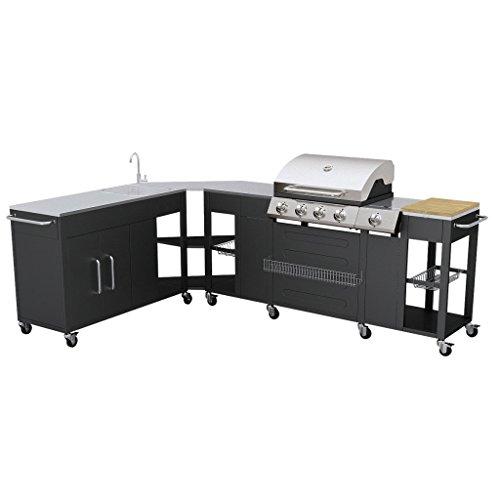 Grand barbecue à gaz GPL butane propane cuisine extérieure 4 brûleurs + 1 réchaud latéral 1 évier grand plan de travail inox espace de rangement 8 roues
