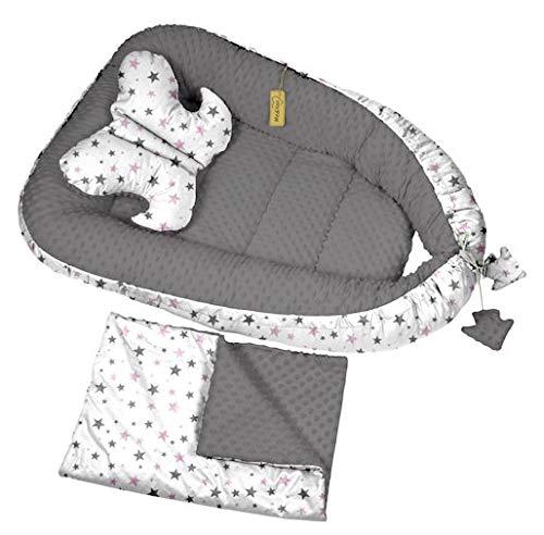 Babynest Babybett Nestchen Kuschelnest Stillkissen Reisebett Sweet Day 3 Tlg. (Dunkelgrau-Weiß-Sterne (29))