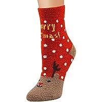 AJOYCN Calcetines de Navidad, señoras Novedad Diversión Calcetines de Navidad Calcetines Calientes Acogedor Piso Cama