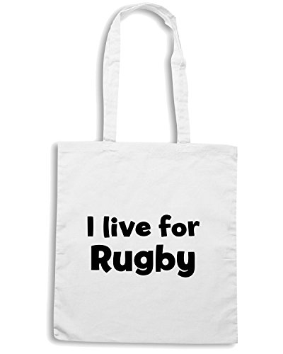 T-Shirtshock - Borsa Shopping TRUG0016 i live for rugby logo Bianco