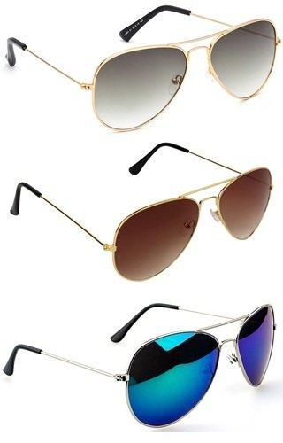 Sheomy Stylish sunglasses 3 Multicolor Combo Set of 3 UV Protect Aviators Unisex sunglasses & goggles for Men/Women with three Boxes (Golden Brown   Full Black   Grey BLACK)
