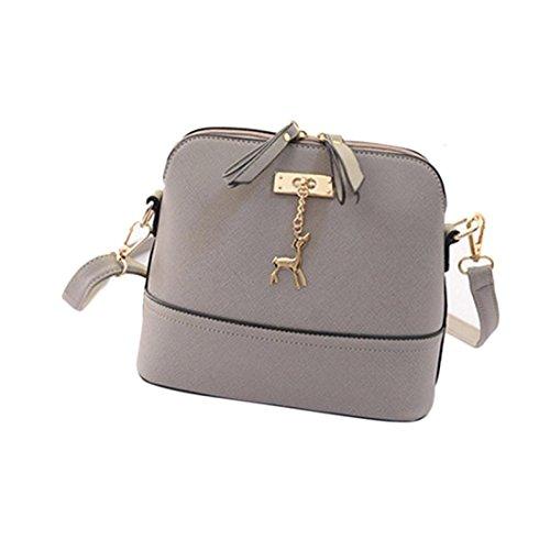 Handtasche Damen Btruely Mädchen Messenger Crossbody Vintage Tasche Kleines Shell Leder Handtasche (Grau) -