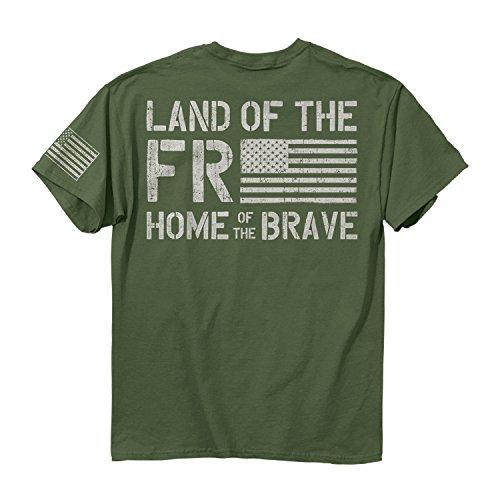 Buck Wear Herren Freedom Flag Ss Baumwoll-T-Shirt, Militärgrün, 2052-2X, Military Green, 2X -