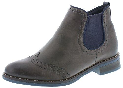 Remonte Damen Chelsea Boots D8581,Frauen Stiefel,Halbstiefel,Stiefelette,Bootie,Schlupfstiefel,flach,Blockabsatz 3.3cm,Einlegesohle,Graphit/Ozean / 45,EU 37
