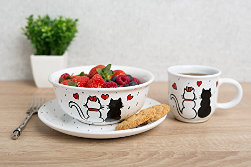 City to Cottage Colourful Disney Cartoon Animal | Handmade Hand Painted | Kids Childrens Toddlers | Glazed Ceramic Dinner Set of 3 | Dinner Plate | Cereal Bowl | Mug (Cats in Love)