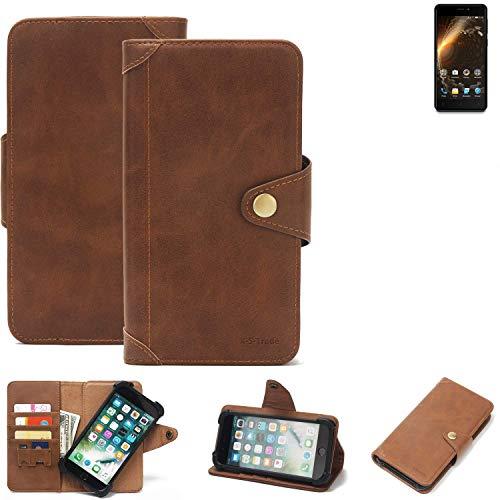 K-S-Trade Handy Hülle für Allview P9 Energy Mini Schutzhülle Walletcase Bookstyle Tasche Handyhülle Schutz Case Handytasche Wallet Flipcase Cover PU Braun (1x)