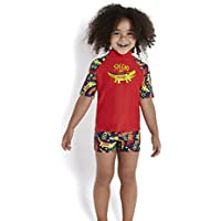 Speedo Baby Congobongo Essential - Camiseta de protección Solar para niños, Color Deep Indigo/Risk Red/Lime Punch, tamaño 3 años