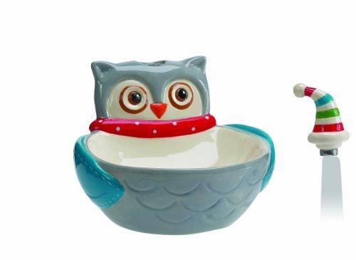 Boston Warehouse Boston Warehouse Snowy Owls Dip Bowl and Spreader Set