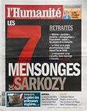 HUMANITE (L') [No 20489] du 05/10/2010 - PIERRE LAURENT / RENCONTRE - LES RETRAITES /...