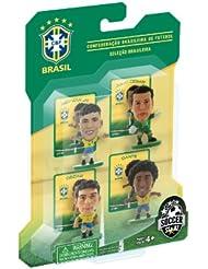 Soccerstarz - 400600 - Figurine - Sport - Le Pack De 4 Figurines Officielles De L'équipe De Brésil - Contenant Julio César, Dante, Oscar Et Neymar Jr