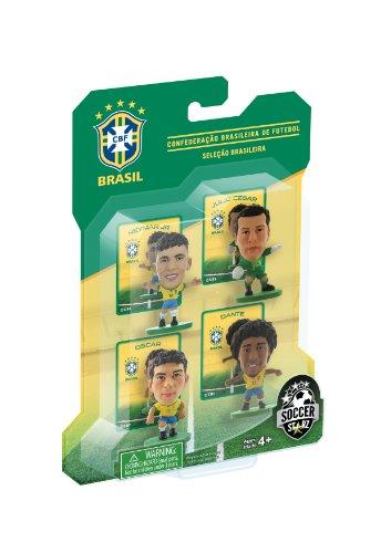 SoccerStarz Brazil International 4-Figurine Blister Pack featuring Julio Cesar  Dante  Oscar and Neymar Jr in Brazil s Home Kit