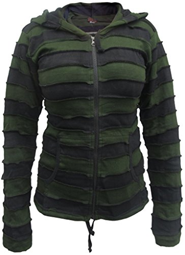 LITTLE KATHMANDU - Chaqueta - para mujer verde Green Black Striped L/ XL