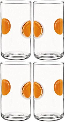 Verres Tumblers à eau Giove - lot de 4 - orange - 490 ml