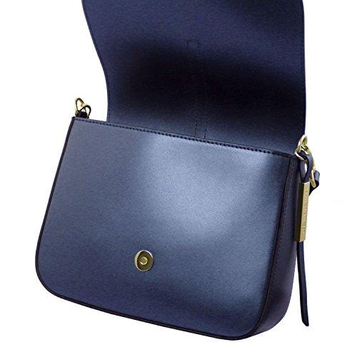 Tuscany Leather Nausica Borsa a tracolla in pelle metallic Celeste Blu scuro