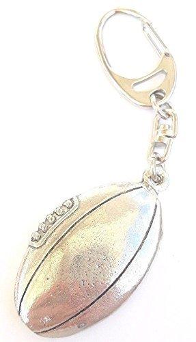 Ballon de rugby fabriqué à la main à partir d'étain massif dans le Royaume-Uni Porte-clés + 59mm badge + Sac Cadeau