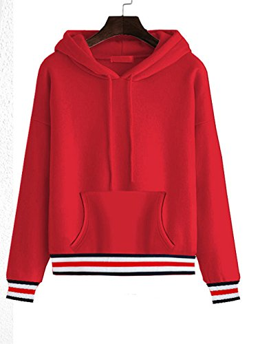 Beauty Go Femme Sweat à Capuche Long Sleeve Hoodie Printemps Autome Pull Tops Blouse Casuel Rouge