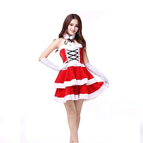 Olydmsky Weihnachtskostüm Damen,Europäische und amerikanische Weihnachten Weihnachten Kleidung Kleid Dress Bühne